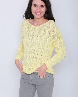 ΜΠΛΟΥΖΑ ΠΛΕΚΤΗ ΣΕ ΜΑΚΡΥ ΜΗΚΟΣ Μπλούζα Πλεκτή Κίτρινη Μακριά, με μανίκια και με σχέδιο στην πλέξη. Μπλούζα πλεκτή σε κίτρινο χρώμα έντονο που αντιπροσωπεύει την άνοιξη και σε εφαρμοστή γραμμή. Μια βολική casual ανοιξιάτικη μπλούζα που δεν πρέπει να λείπει από την ντουλάπα σας καθώς μπορεί να φορεθεί ιδανική κατά την περίοδο της άνοιξης και να σας χαρίσει υπέροχα ανοιξιάτικα σύνολα. Για μια πρωινή εμφάνιση στη δουλειά μπορείτε να συνδυάσετε την Μπλούζα Πλεκτή Κίτρινη Μακριά, με ένα εφαρμοστό παντελόνι μονόχρωμο σε συνδυασμό με τις γόβες σας και από τσάντες μια oversized. Ολοκληρώστε το look σας με ένα δερμάτινο μπουφάν. Για μια βραδινή εμφάνιση που θα σας βγάλει ασπροπρόσωπες επιλέξτε να συνδυάσετε την Μπλούζα Πλεκτή Κίτρινη Μακριά με ένα κολάν και μπαρέτες. Από πανωφόρι επιλέξτε ένα μακρύ σακάκι και από τσάντες μια μικρή που κρεμιέται.