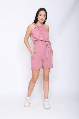 Ολόσωμη Φόρμα Σορτς Σε Dusting Pinkχρώμα,με λάστιχο στην μέση.