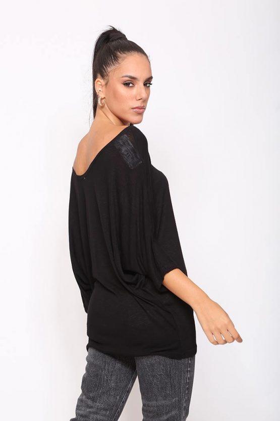 Μπλούζα Flama Σε Μαύρο,σε άνετη γραμμή .