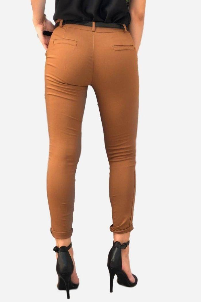 ΠαντελόνιΓκρο Ελαστικό Σε Camelχρώμα,σε ίσια γραμμή .