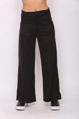 Παντελόνι Mε Καμπάνα Σε Μαύρο χρώμα,σε στενή γραμμή .
