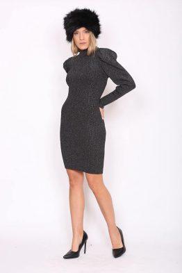 Φόρεμα Πλεκτό Lurex Σε Μαύρο Χρώμα, σε ίσια γραμμή.