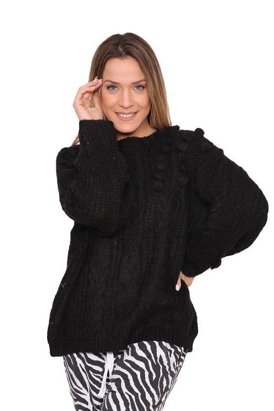 Μπλούζα Πλεκτή Με Pon Pon Σε Μαύρο, σε ανάλαφρο στυλ.