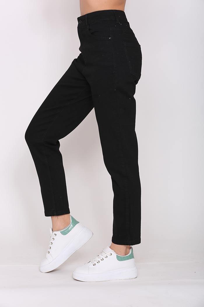 Παντελόνι Mom-Fit Σε Μαύρο χρώμα,σε ίσια γραμμή .