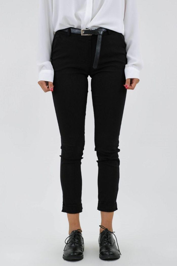 Παντελόνι Γκρο Σε Μαύρο χρώμα,με ζώνη στην μέση.
