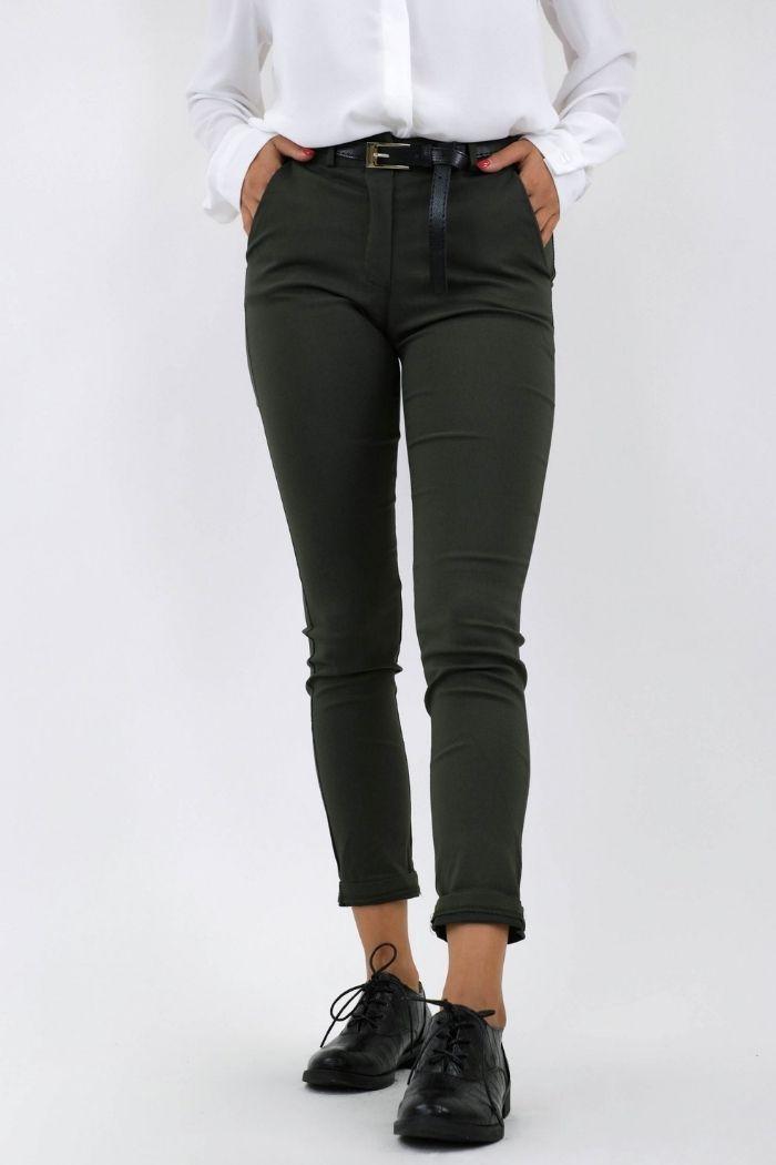 Παντελόνι Γκρο Σε Χακί χρώμα,με ζώνη στην μέση.