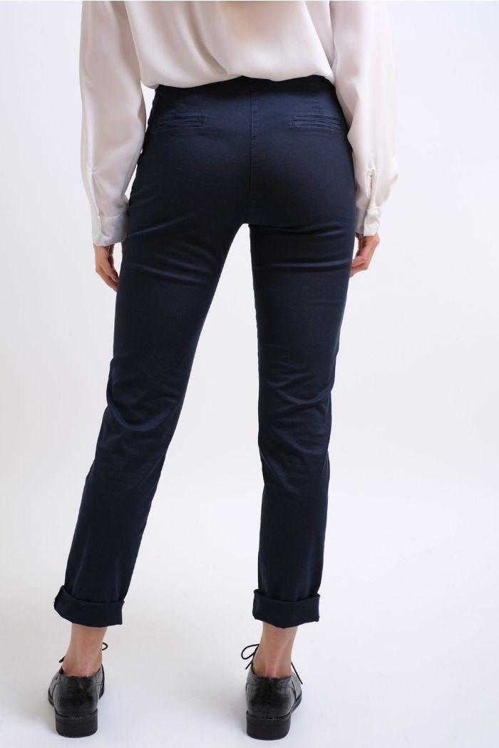 Παντελόνι Τσίνο Σε Μπλε Σκούρο χρώμα,με ζώνη στην μέση.